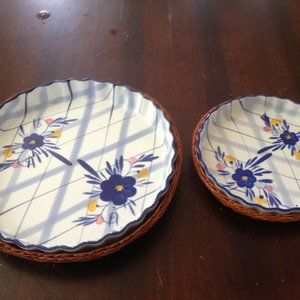 Flan Dish Set of 2 with Wicker Bottoms.. Like New